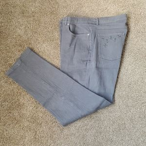 Ruby Rd. Size 12 Gray stretch straight leg jeans